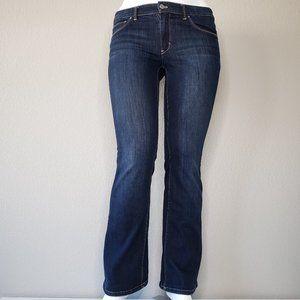 WHBM | Mid Rise Dark Blue Wash Boot Leg Jeans 12